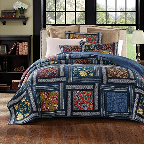 Gypsy Floral Bedding Collection (DaDa Bedding Bohemian Midnight Ocean Blue Sea Reversible Real Patchwork Quilted Bedspread Set - Dark Navy Floral Multi-Color Print - Full - 2-Pieces)