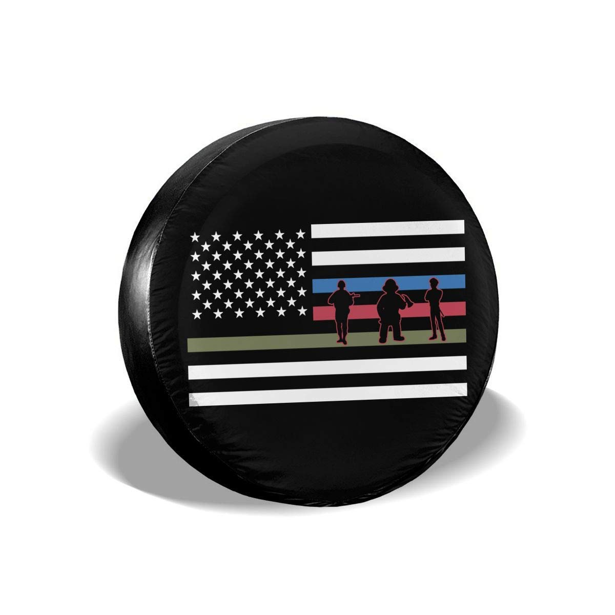 Tire Covers HappyToiletLidCoverX Thin Blue Line American Flag Firefighter Police Military Spare Wheel Tire Cover Funny Waterproof Tire Protectors Novelty 14 15 16 17 INCH