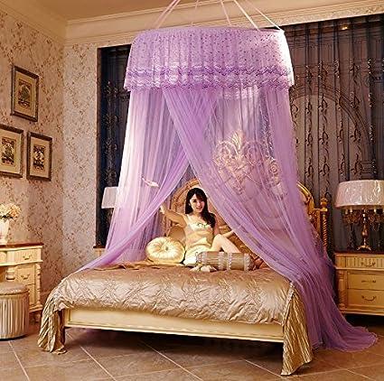 Ryc Ciel De Lit Moustiquaire Bébé Double Ado Fille Enfant Princesse Accessoire Décoration Chambre Dentelle Romantique Pr Lit Moins De 1 8m Violet