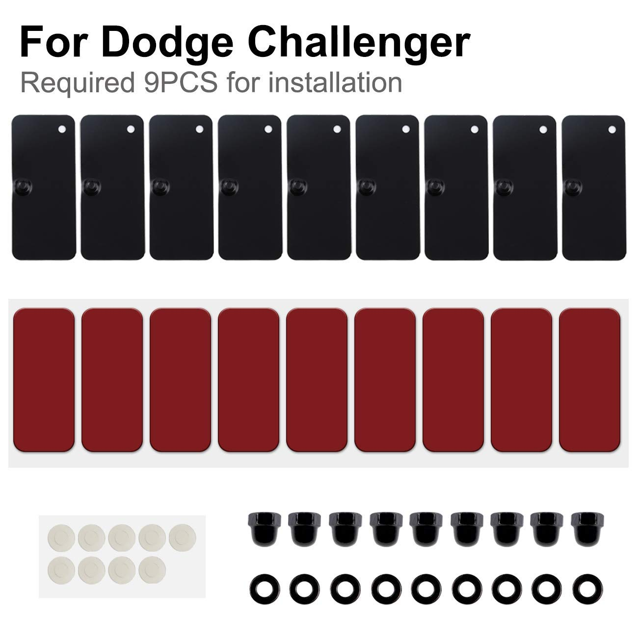 Sunluway for Ford Mustang Dodge Challenger and Camaro Rear Window Louvers Scoop Louvers Installation Hardware Accessories