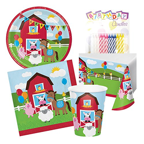 - Farmhouse Fun Birthday Party Tableware Deluxe Bundle Includes Plates Napkins Cups Table Cover Serves 16