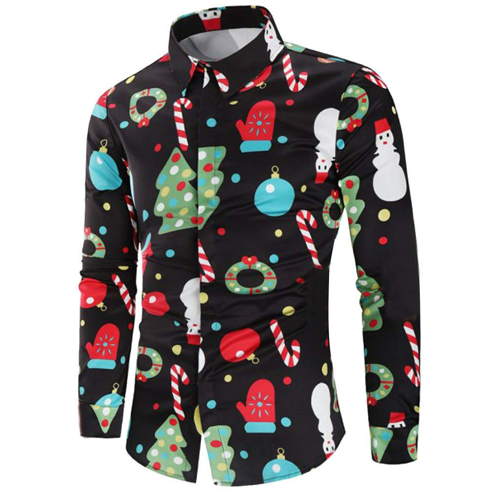 CLOOM Camicie da Uomo Camicie Casual Classiche Cerimonia Top da Uomo Camicetta, Uomini Casuale Natale Tema Abbottonare Camicetta Superiore Camicia Coreana Uomo Fashion