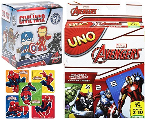 Avengers Go! UNO Marvel Edition Card Game & Captain America Civil War Blind Box Character Figure Collectible + Bonus Stickers Bundle Pack