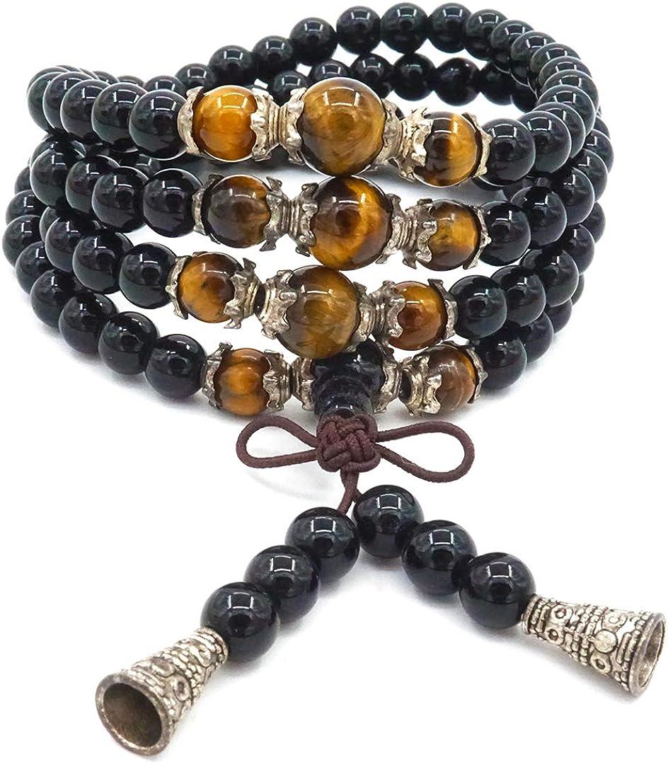 Pulsera de obsidiana brillante natural de 6 mm, 108 cuentas, collar con cuentas de ojo de tigre, joyería de cuerda hecha a mano para hombres y mujeres