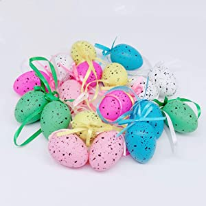 MGQ Easter Eggs Ornament,36 Pcs Multicolored Plastic Easter Egg Hanging Ornament,Decorative Easter Hanging Eggs,Tree Hanging Ornaments for Easter Tree Easter Decoration,Home Decor,Random Color
