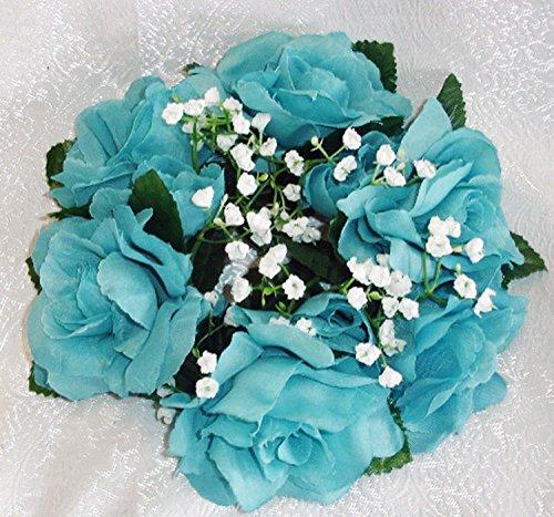 - Candle Rings Teal Aqua Turquoise ~ Silk Wedding Decoration Flowers Artificial Arrangement Party Centerpieces Decor