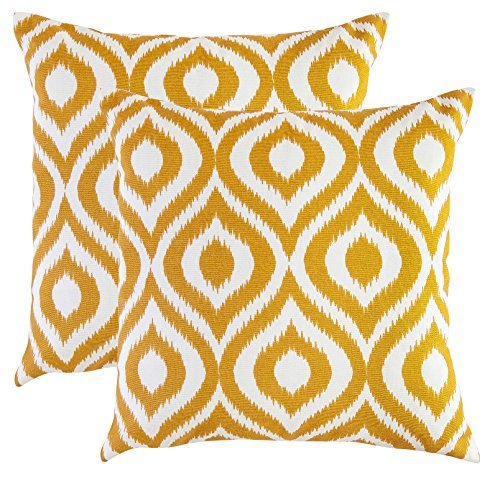 TreeWool, (2 Pack) Throw Pillow Covers Ikat Ogee Accent Decorative Pillowcases Toss Pillow Cushion Shams Slips Covers for Sofa Couch (18 x 18 Inches / 45 x 45 cm; Mustard), White Background (Yellow Mustard Pillow)