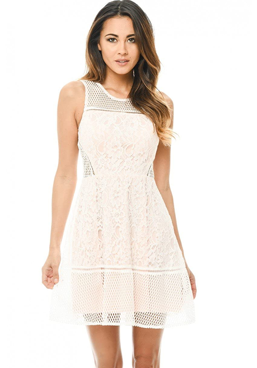 2cba017462 Top3  AX Paris Women s Skater Dress with Mesh and Lace Detail