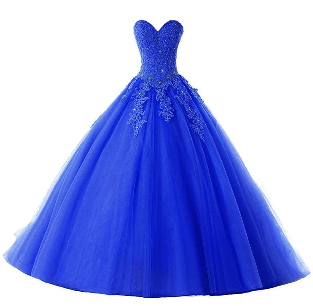 bluee Vantexi Women's Elegant Lace Tulle Prom Ball Gown Quinceanera Dresses