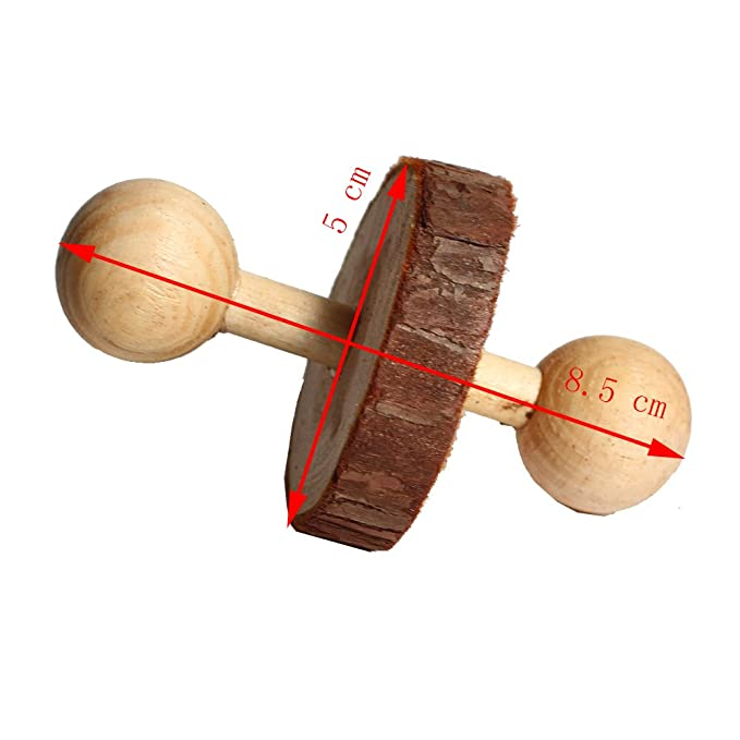 Amazon.com : Natural wood dumbbell wheelbarrow toy ball Can be used to chew toys suitable for hamste rabbit bird : Pet Supplies