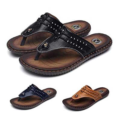 17965a2ae gracosy Men s Flip Flop Thongs Walking Beach Slippers Summer Pool Leather  Sandals Clip Toe T-