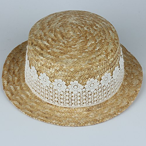 5948ee56e53 Cupcinu Girls Children Kids Summer Sun Beach Straw Hat White Lace  Decoration Sun Cap Hats Foldable Packable Outdoor Travel Cap  Amazon.co.uk   Clothing