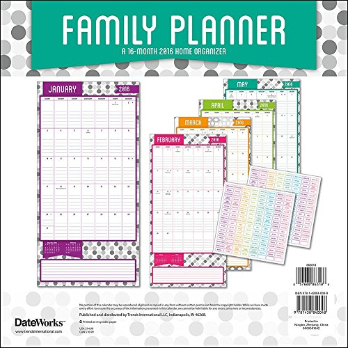 family planner 2016 wall calendar by trends international office