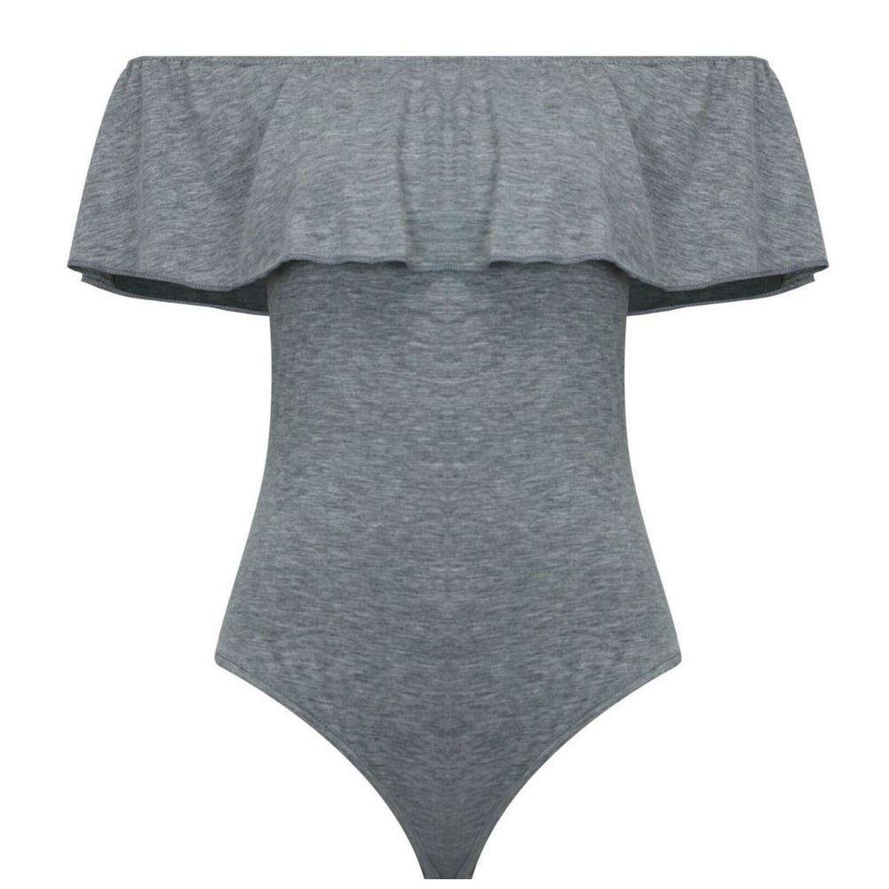 janisramone Womens Ladies New Off The Shoulder Ruffle Frill Bardot Plain Bodysuit Sleeveless Leotard Top