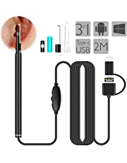 Ear Endoscope, HEYSTOP USB Otoscope 3 in 1 Android/Windows/Mac IP67 Waterproof 720HD Ear Cleaning Inspection Camera with 6 Adjustable LED for Android Phone (OTG+Micro USB+Type C) Window Mac PC with Ear Pick Spoon