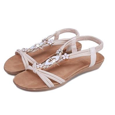 Women Flat Shoes Beaded Bohemia Leisure Lady Sandals Peep-Toe Outdoor Sandals