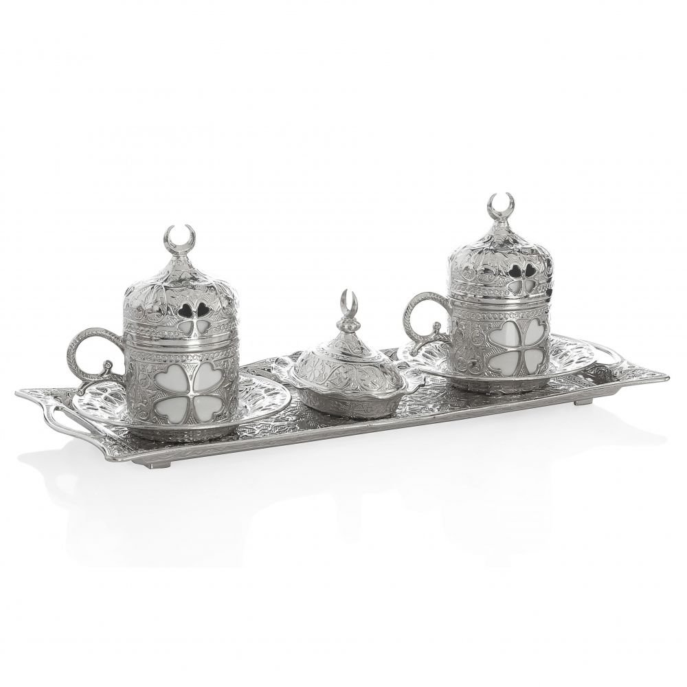Gold Case Silver plated Turkish, Arabic, Greek and Espresso Coffee Set for 2 - Made in Turkey - 11 pieced set, Silver Ynca-2li-11