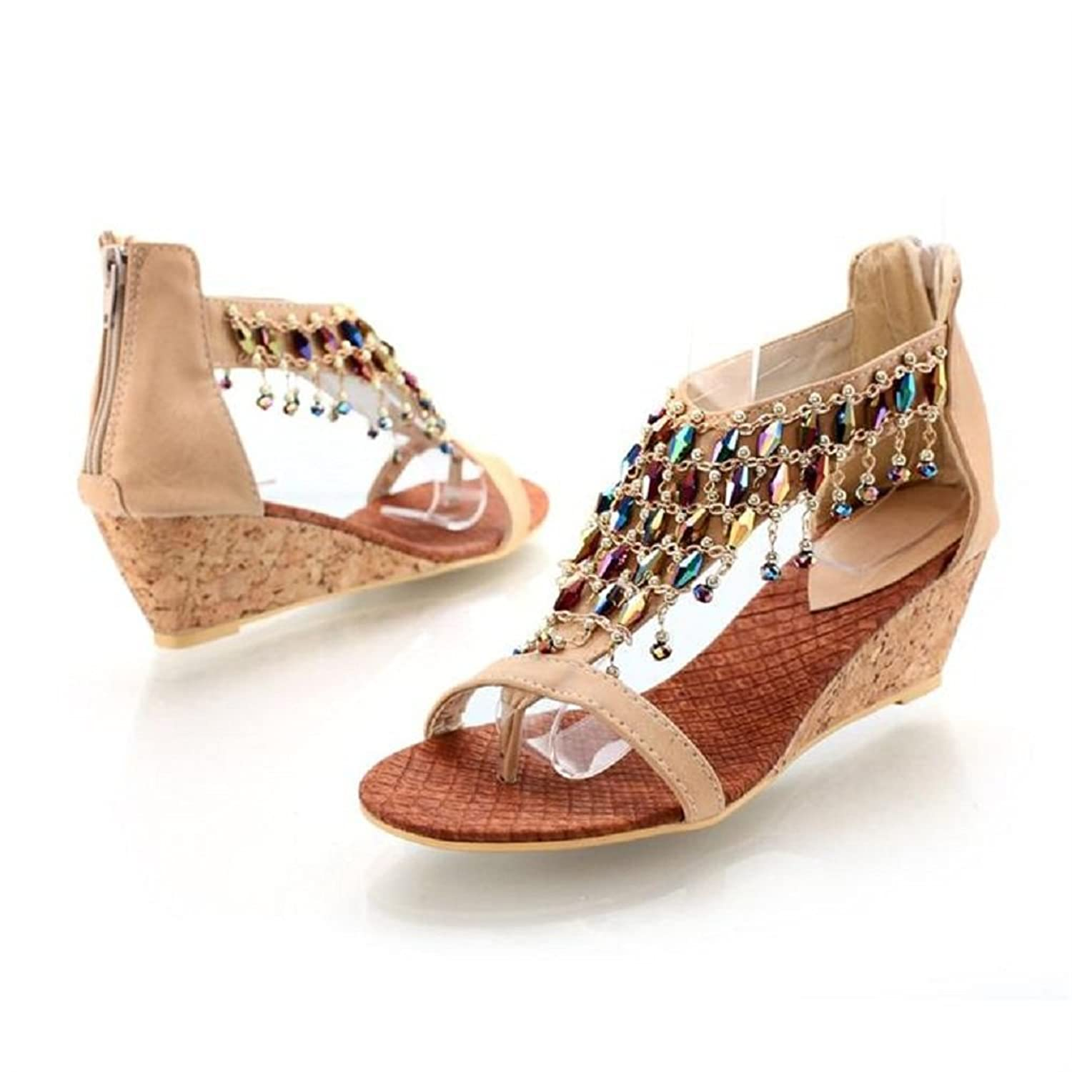 Amazon.com | New Summer Fashion Handmade Beaded Womens Wedge Heels ...