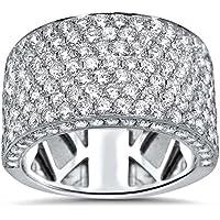 Nongkhai shop Hot 925 Sterling Silver Ruby Mirco Pave White Topaz Bridal Jewelry Ring Size6-10 (7)