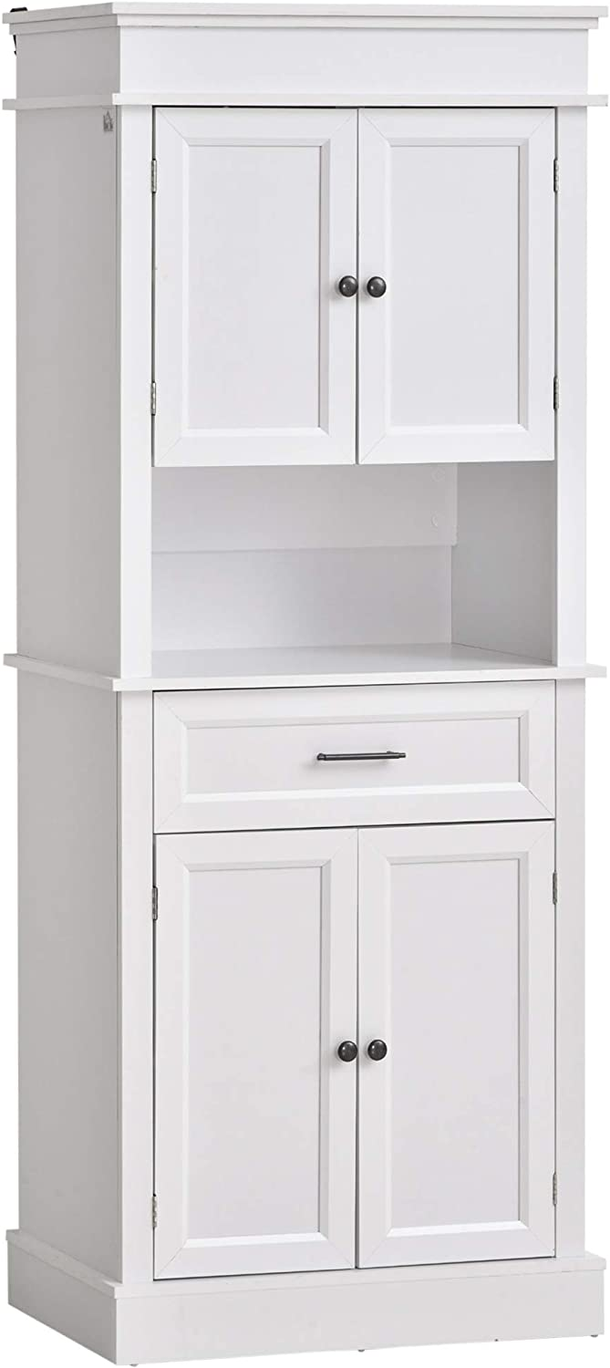 HOMCOM Traditional Freestanding Kitchen Pantry Cabinet Cupboard with Doors and Shelves, Adjustable Shelving, White