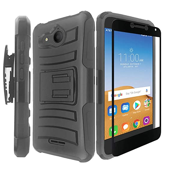 Alcatel Tetra Case with Tempered Glass Screen Protector,IDEA LINE Heavy  Duty Armor Shock Proof Dual Layer Holster Locking Belt Swivel Clip with  Kick