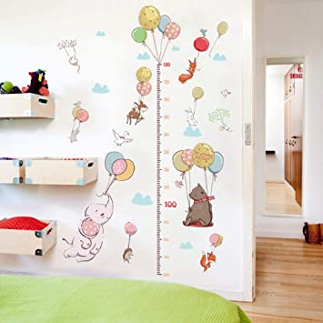 Bdhnmx Creative Balloon Animal Child Height Measurement Wall Sticker Child Bedroom Wardrobe Fox Rabbit Growth Up