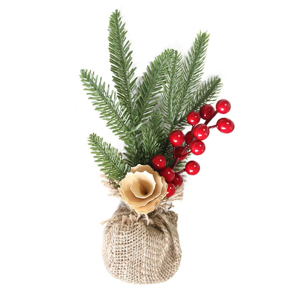 Lovewe Christmas Desk Decoration Mini Christmas Tree Ornament With Light Christmas Decoration Gift (A)
