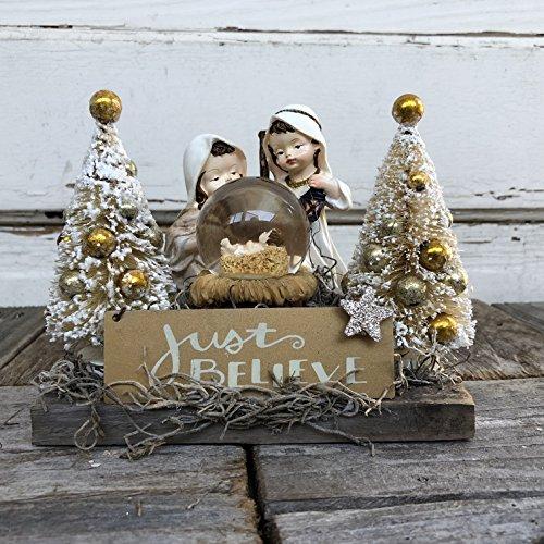 AG Designs Christmas Decor – Small Baby Jesus Nativity Snow-Globe BELIEVE (Nativity Display)
