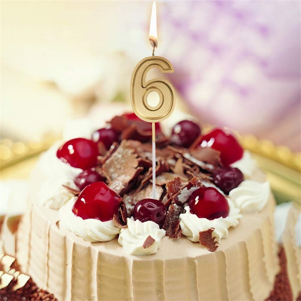 Fxbar, Gold Number Birthday Numeral Candles Cake Decor Birthday Candles 0-9 Molded Number Candlesc (F) by Fxbar (Image #2)
