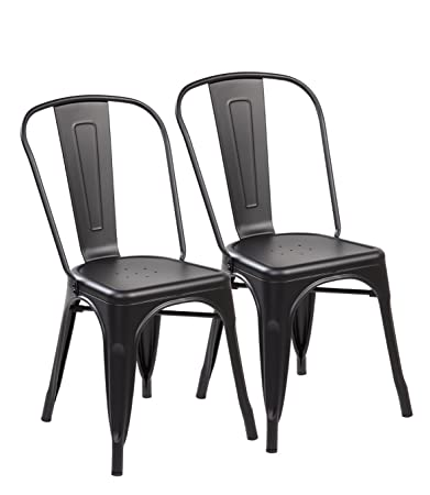 eurosports Tolix Style Chair 3004-MB-2 Metal Kitchen Dining Chairs with Back, Set of 2 Matte Black