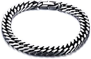 Joielavie gioielli braccialetto Heavy Curb Cubano catena in acciaio opaco finito Link braccialetto a catena punk Cool Gift for Men