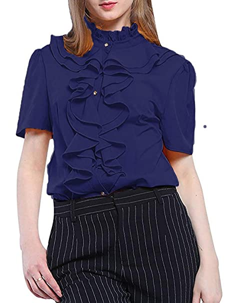 0fe30a9abad2ad Voguegirl Womens Short Sleeve Ruffle High Neck Pleated Button Down Blouse  Tops Shirts Navy S: Amazon.ca: Clothing & Accessories