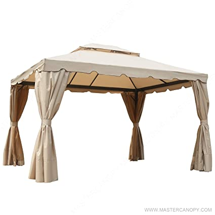 the latest 53e93 ae395 MasterCanopy Gazebo 10×12 Patio Rome Gazebo Canopy Soft Top with Mosquito  Netting and Walls,GHGM-008(Beige)