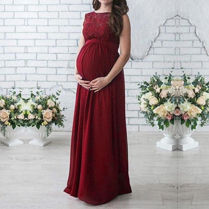 Vestidos Embarazada Fiesta Mujer LHWY, Vestidos SúPer Largo Suelto Vestidos Encaje Sin Mange Con Cuello Redondo: Amazon.es: Ropa y accesorios