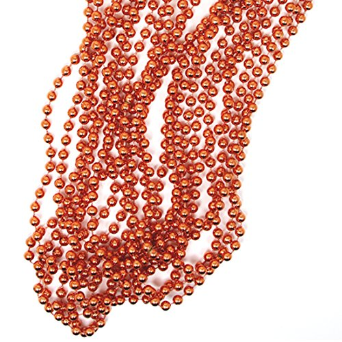 (Andaz Press Rose Gold Party Bead Necklaces, 12-Pack, Shiny Metallic Copper Champagne Themed Anniversary Colored Party Supplies)