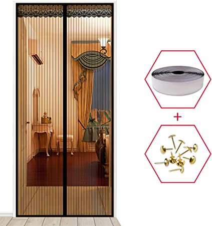 YXDDG Mosquitera de Puerta con Puerta de corredera de imán Cortina magnetica Protector Prueba Gato Anti Mosquito Magic Mesh Marco Completo balcón diseño-Negro 90x220cm(35x87inch): Amazon.es: Hogar