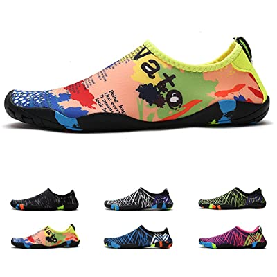 "Amazon.com | Anti-Slip Water Shoes for Men Women Little Kid, Barefoot Shoes Quick Dry (5.5US Women/4US Men=8.86"" Foot, Yellow Map) 