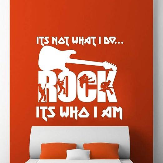 JXCDNB Rock Its Who I Am Wall Sticker Citas Guitarra Metal Band ...