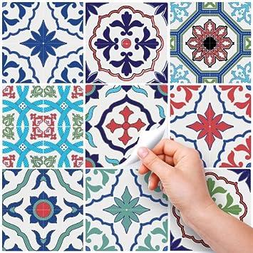 Adh/ésive d/écorative /à carreaux pour salle de bains et cuisine Stickers carrelage carrelage adh/ésif 10x10 cm 36 PIECES Lisbonne PS00036-P collage des tuiles adh/ésives