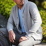 Men's 100% Cashmere Cardigan, Hand-Knitted, Buttoned Cardigan, 26/2 Mongolian Yarn, Grey © Moksha Cashmere
