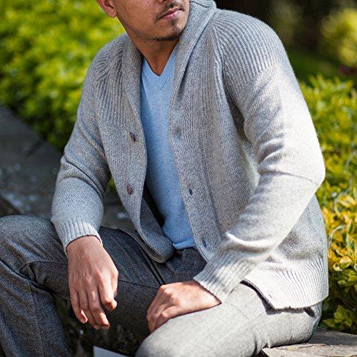 Men's 100% Cashmere Cardigan, Hand-Knitted, Buttoned Cardigan, 26/2 Mongolian Yarn, Grey © Moksha Cashmere by Moksha Cashmere