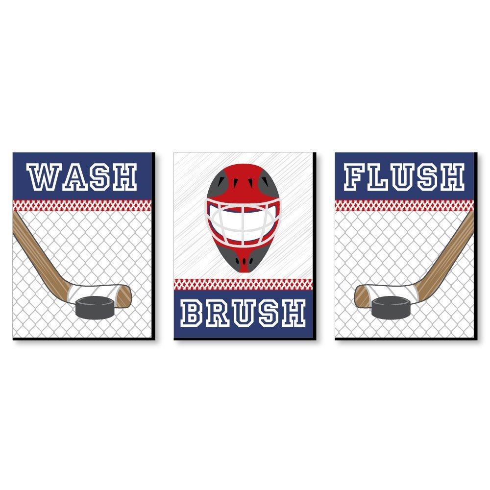 "Shoots & Scores! - Hockey - Kids Bathroom Rules Wall Art - 7 5"" x 10"" - Set  of 3 Signs - Wash, Brush, Flush"