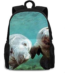 School Backpack,Pair Of Manatee Doug Perrine Ocean Computer Backpacks Travel Hiking Camping Daypack For Youth