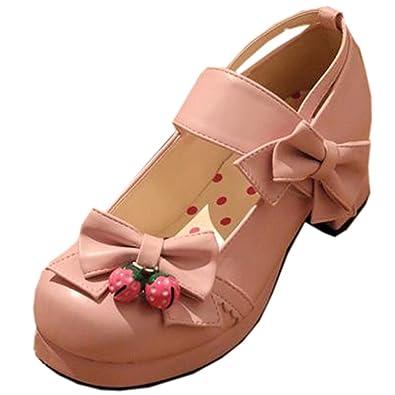 Partiss Damen Sweet Lolita High-top Casual Schuhen Lolita Pumps Herbst Fruehling Hochzeit Tanzenball Maskerade Cosplay Bowknots Platform Pumps Lolita Shoes,38,Pink