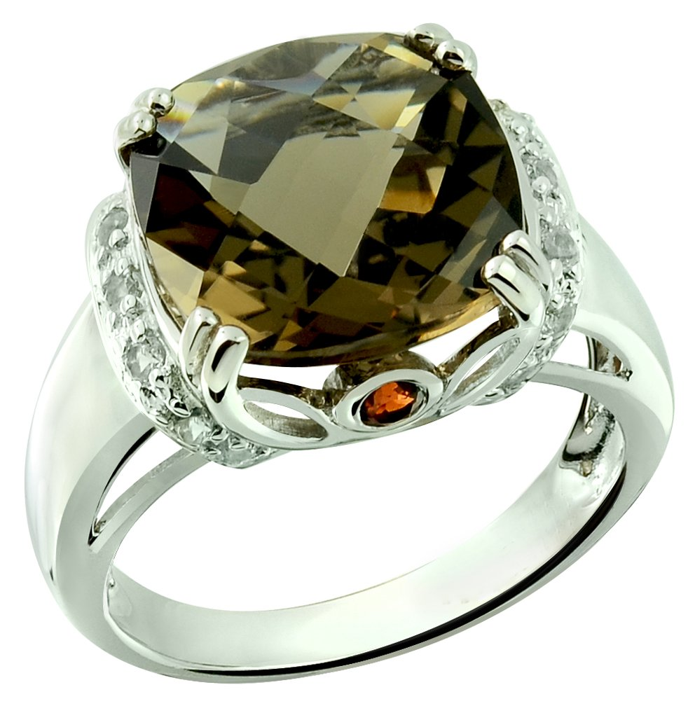 RB Gems Sterling Silver 925 Ring Genuine GEMS 7 Cts, Cushion 12 mm Rhodium-Plated Finish Cocktail Style (8, Smoky-Quartz)