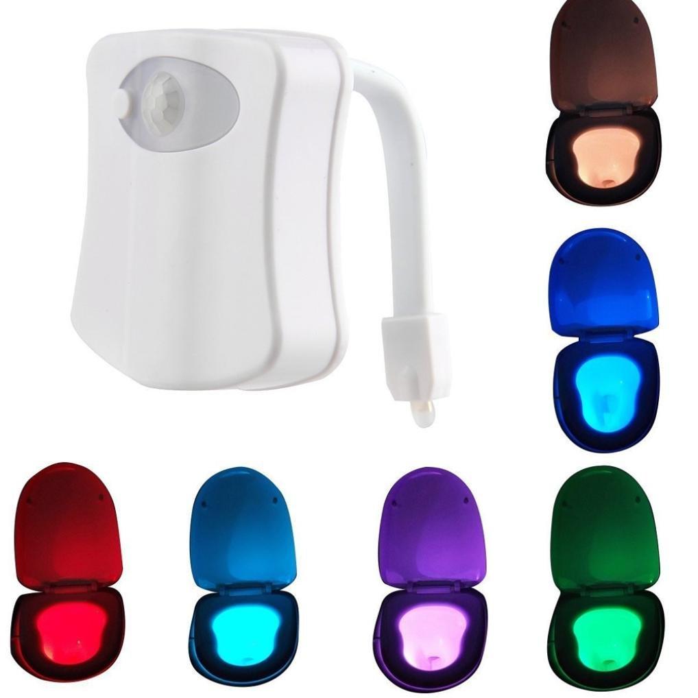 YJYdada Body Sensing Automatic LED Motion Sensor Night Lamp Toilet Bowl Bathroom Light