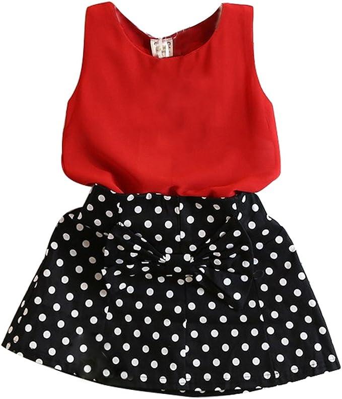 Amur Leopard Conjunto de Niña de Camiseta Roja y Falda Negro con ...