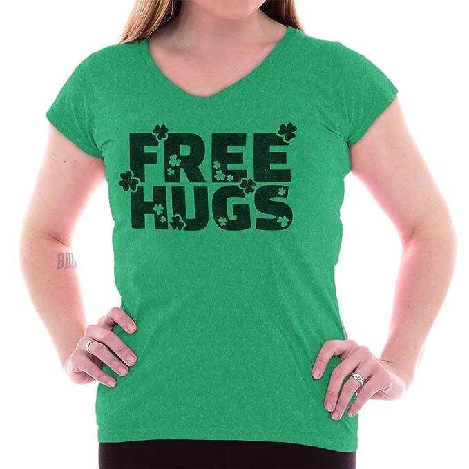 b78a77995 Amazon.com  Free Hugs St. Patricks Day Clover Shamrock Junior Fit V ...
