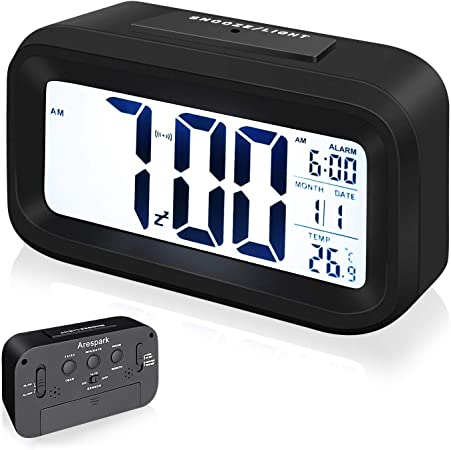 Arespark Despertador Digital, LED Reloj Alarma Electrónico con Luz ...