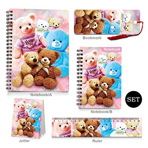 CEIEC3D Hard Cover Spiral Notebook Note Pads Ruler Bookmark Set Back to School Supplies Bear Series